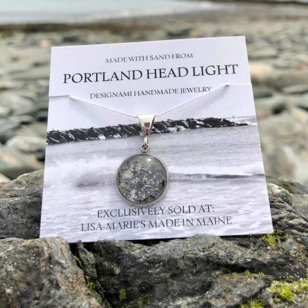 Small Portland Head Light Beach Sand with Mussel Shell Pendant