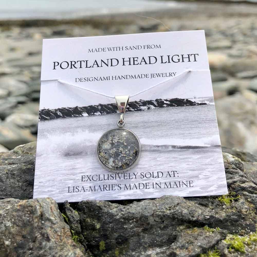 Small Portland Head Light Beach Sand with Mussel Shell Pendant