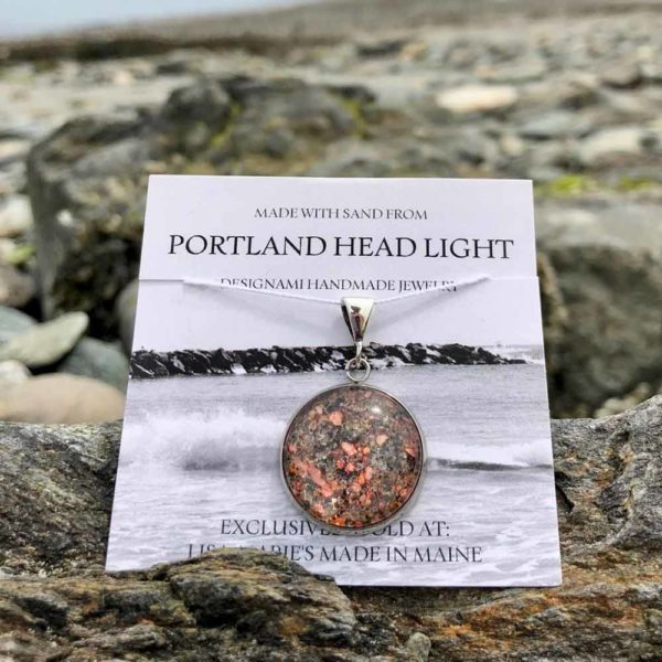 Large Portland Head Light Sand with Crushed Lobster Shell Pendant