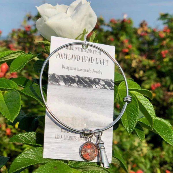 Portland Head Light Beach Sand with Crushed Lobster Shell Charm Bangle Bracelet