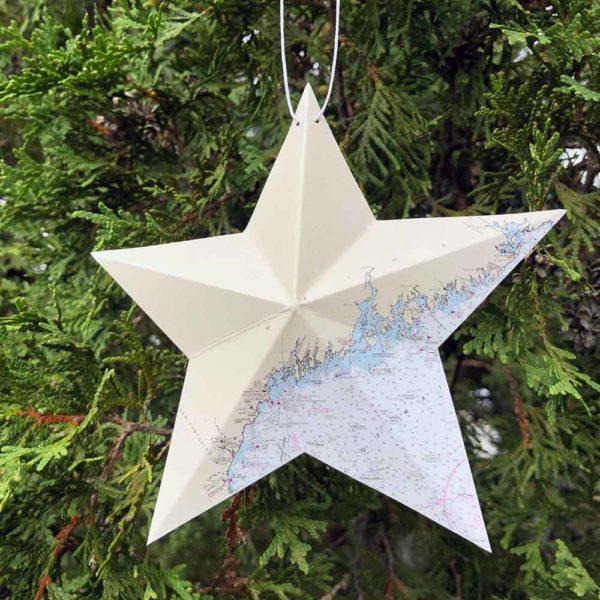 Coast of Maine Chart Star Ornament