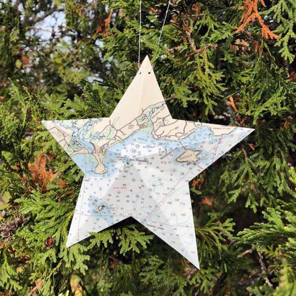 Higgins Beach Chart Star Ornament