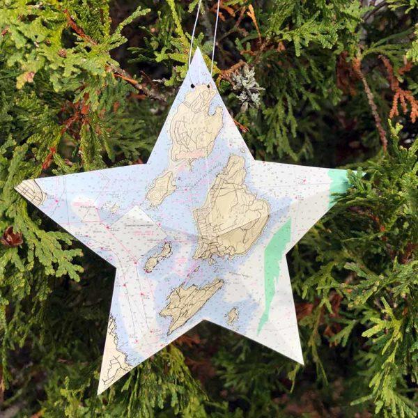 Peaks Island Chart Star Ornament