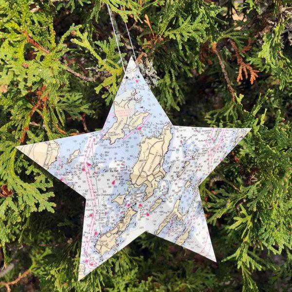 Chebeague Island Chart Star Ornament