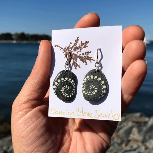 White Wave Beach Stone Earrings