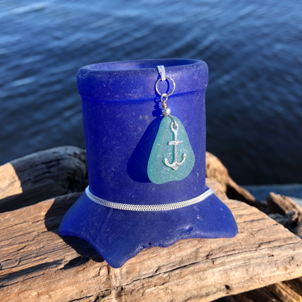 Teal Sea Glass with Anchor Charm Necklace