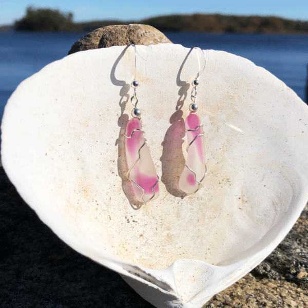 Pink & Clear Sea Glass Earrings