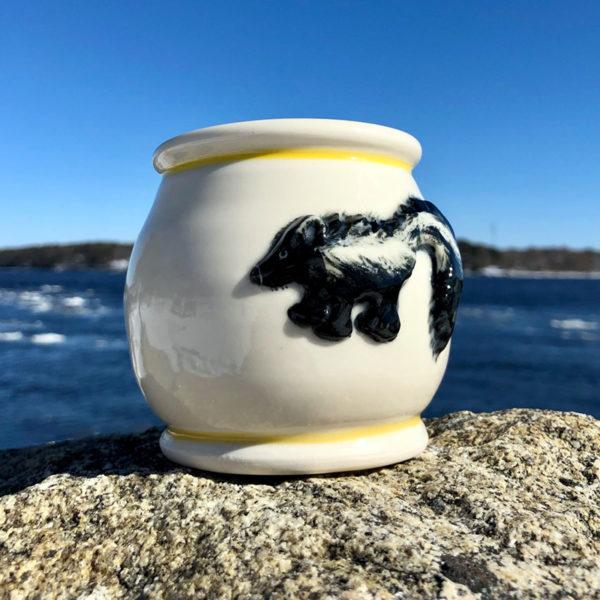 Skunk Mug with Yellow Stripe