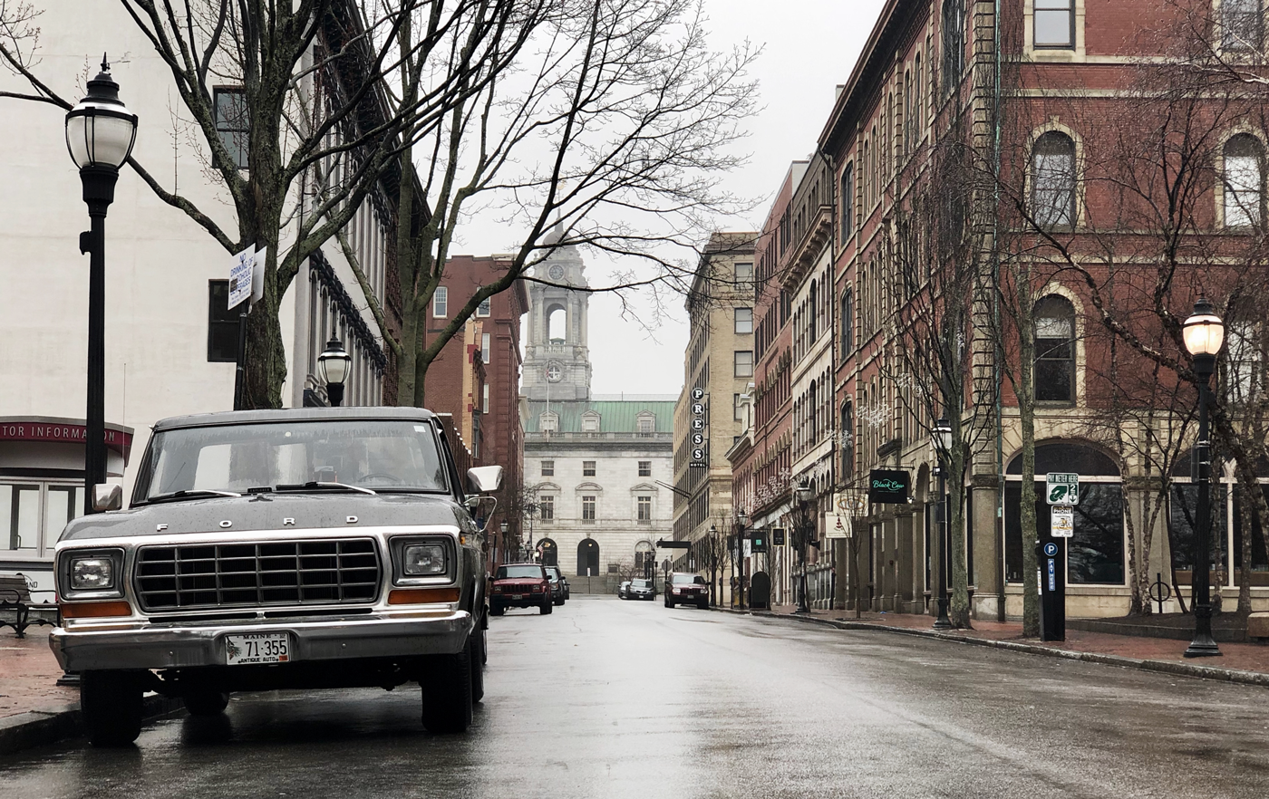 Portland Old Port, Exchange Street looking at City Hall in Spring 2019