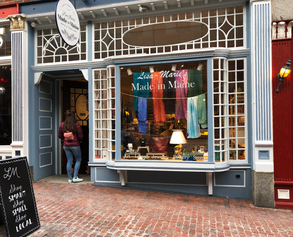 Portland Old Port, Lisa-Marie's Made in Maine on Exchange Street in Spring 2019