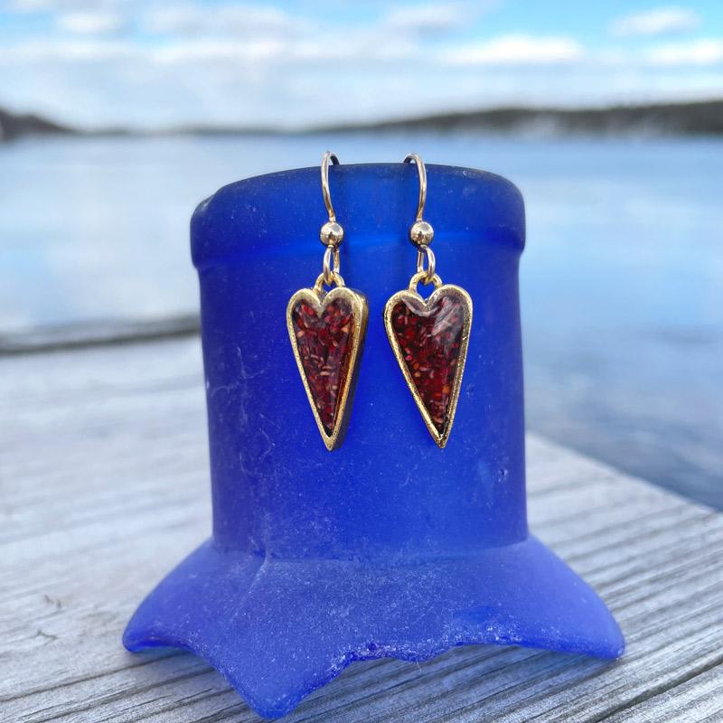 Gold Lobster Shell Heart Earrings