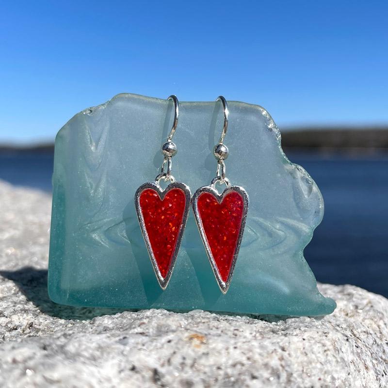 Silver Lobster Shell Heart Earrings