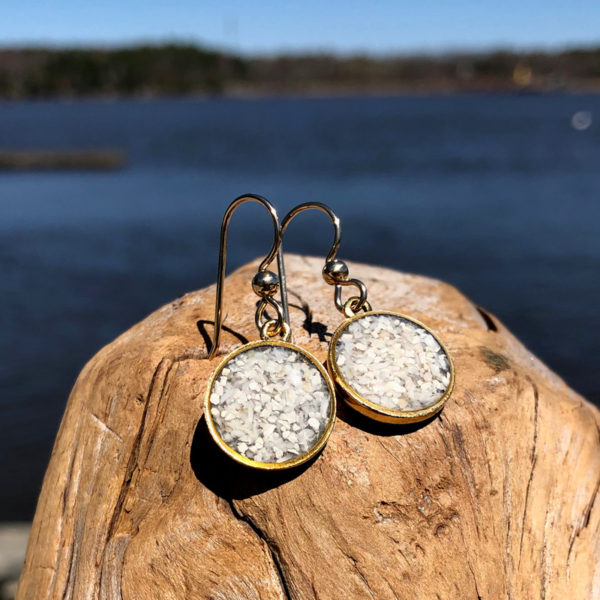 Crushed Oyster Shell Gold Earrings