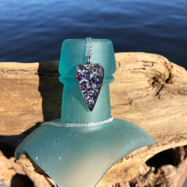 Crushed Mussel Shell Small Heart Necklace