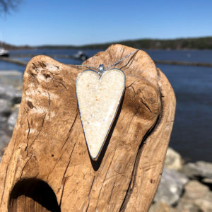 Crushed Oyster Shell Silver Heart Necklace