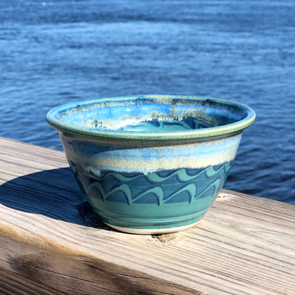 Noodle Bowl in Peacock Glaze by Unity Pond Pottery