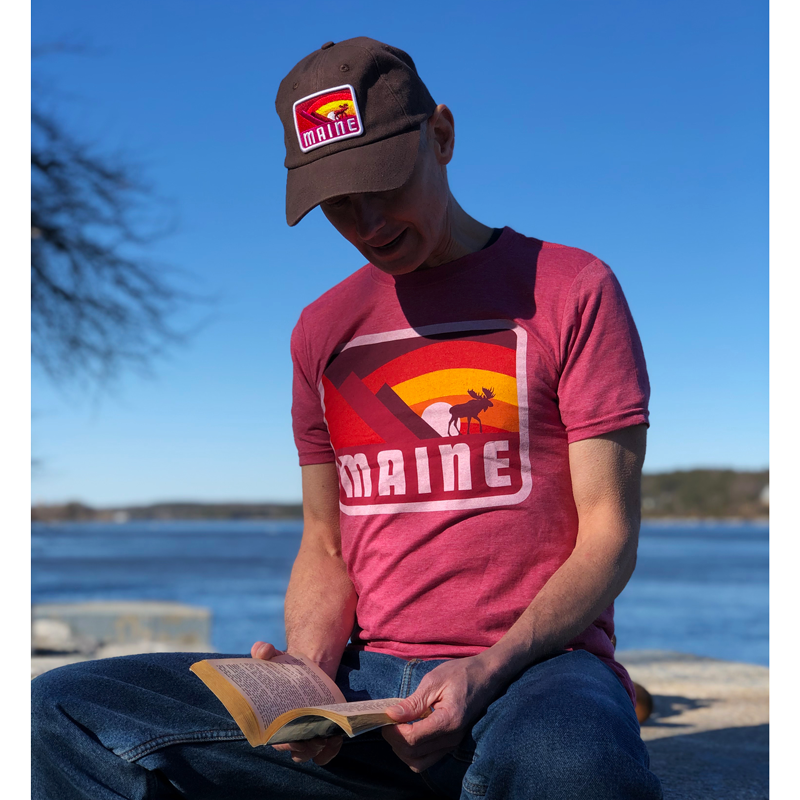 Red Moose & Mountains MAINE T-Shirt