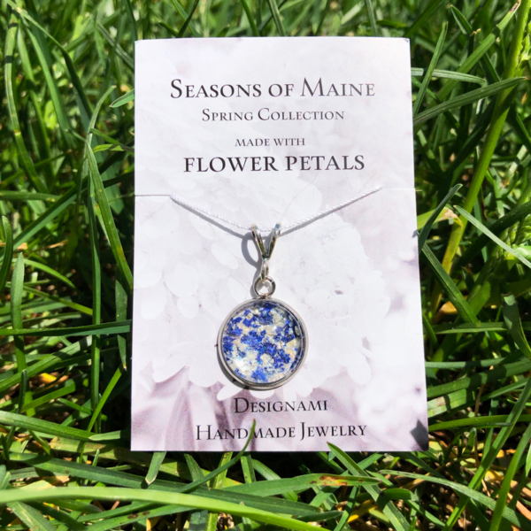 Bluebell & Peony Flower Petal Jewelry Small Pendant