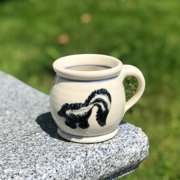 Skunk Mug with Blue Stripe
