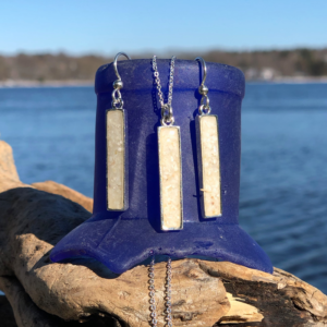 Crushed Oyster Shell Rectangle Jewelry Set - Silver