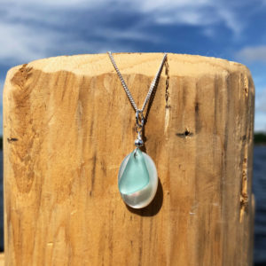 Teal Sea Glass on Coin Pearl Necklace