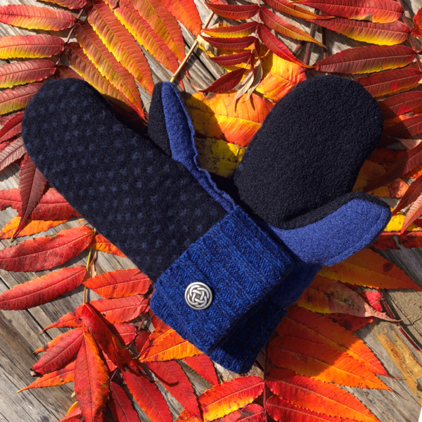 Blue & Navy Sweater Mittens