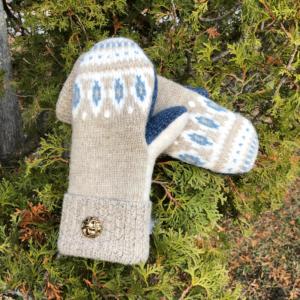 Light Blue & Tan Sweater Mittens