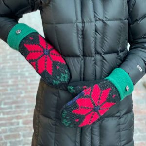 Red Snowflake Sweater Mittens