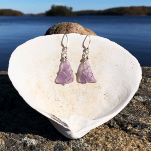 Light Purple Sea Glass Earrings