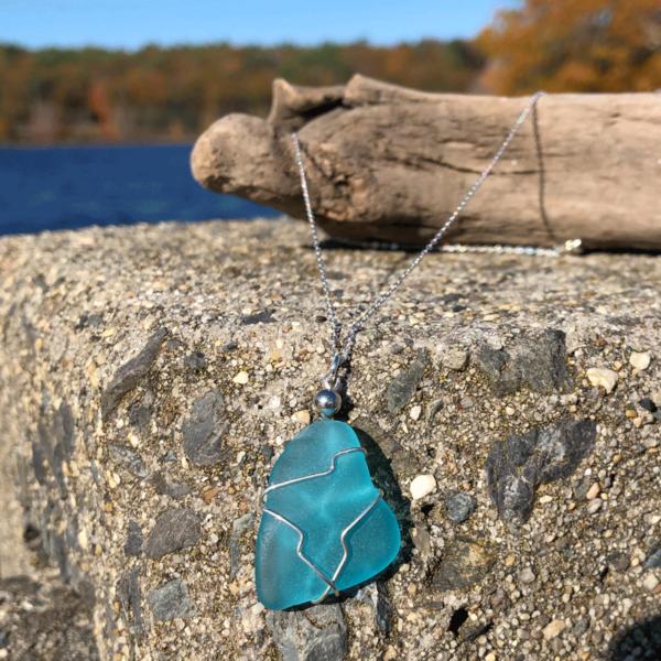 Aqua Sea Glass Necklace