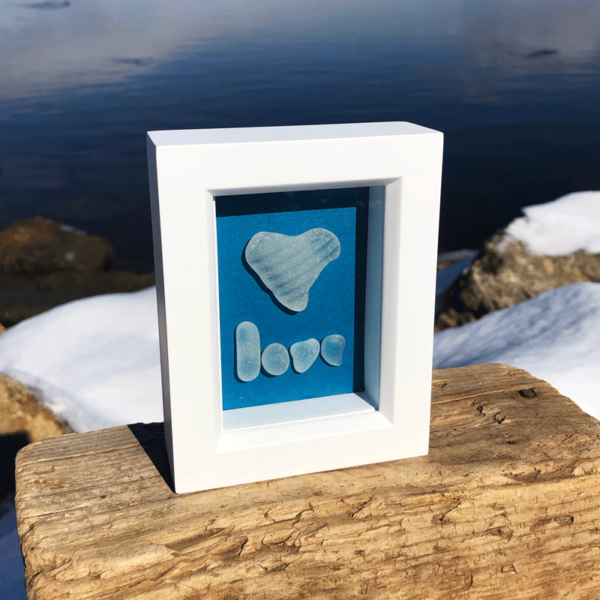 Love Sea Glass Frame | Teal Background