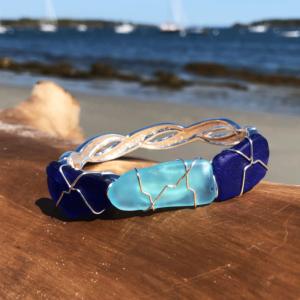 Light Teal & Blue Sea Glass Bracelet