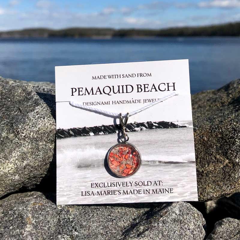 Pemaquid Beach Small Pendant   Beach Sand with Lobster Shell