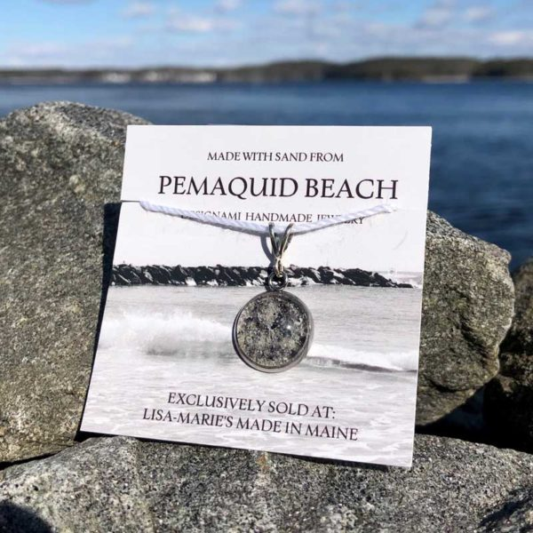 Pemaquid Beach Small Pendant | Beach Sand with Mussel Shell