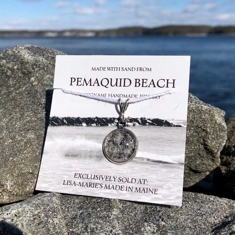 Pemaquid Beach Small Pendant   Beach Sand with Mussel Shell