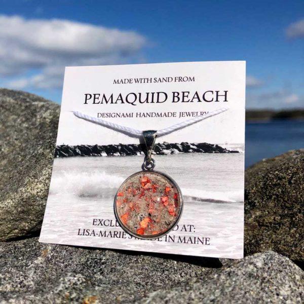 Pemaquid Beach Large Pendant | Beach Sand with Lobster Shell