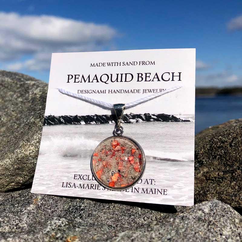Pemaquid Beach Large Pendant   Beach Sand with Lobster Shell