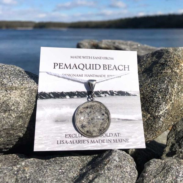 Pemaquid Beach Large Pendant | Beach Sand with Mussel Shell