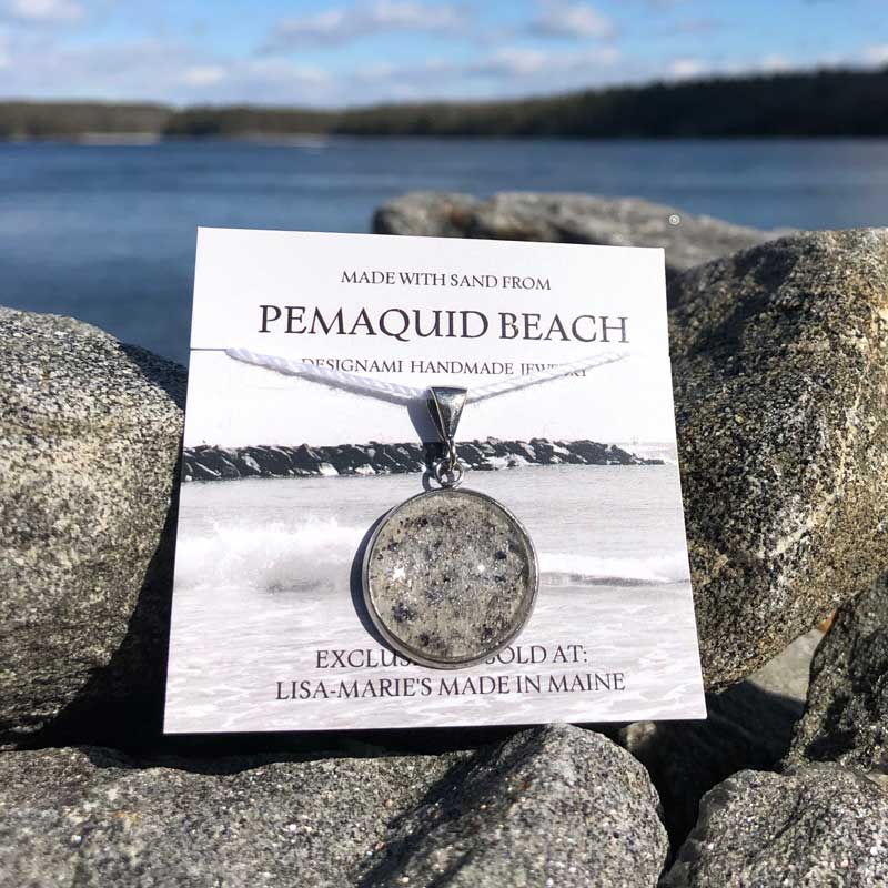 Pemaquid Beach Large Pendant   Beach Sand with Mussel Shell