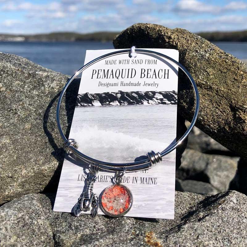 Pemaquid Beach Bangle Bracelet   Beach Sand with Lobster Shell
