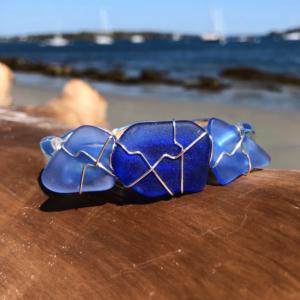 Light Blue & Cobalt Blue Sea Glass Bracelet