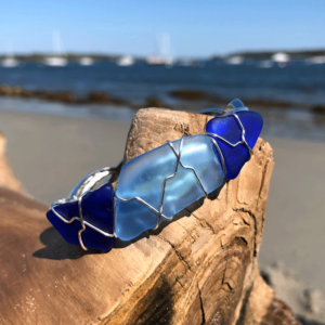 Cobalt Blues & Light Blue Sea Glass Bracelet