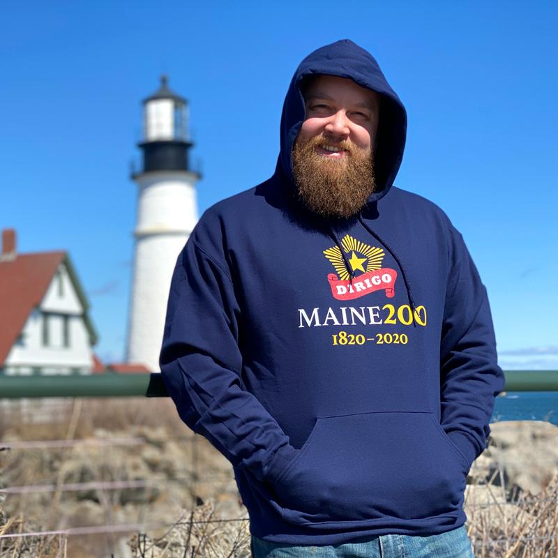 Navy Blue, Maine Bicentennial Sweatshirt with Dirigo Logo.
