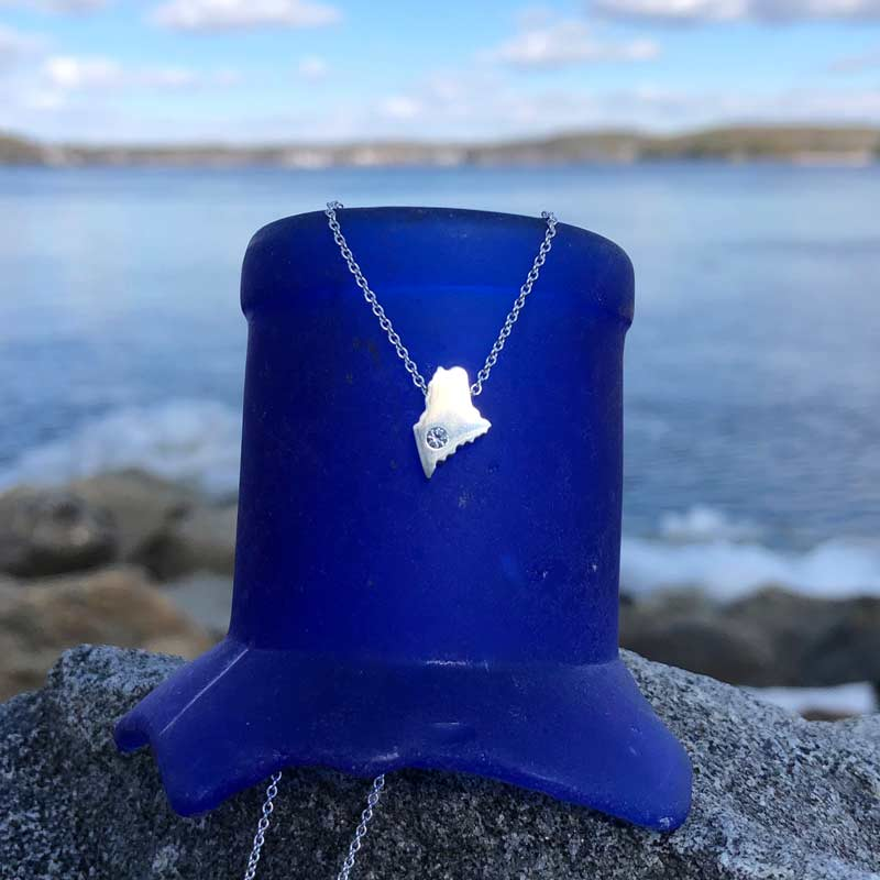Mini Maine Necklace | Sterling Silver charm with 2mm Swarovski Crystal on Sterling Silver Chain