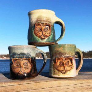 Cat Mugs by Westport Island Pottery