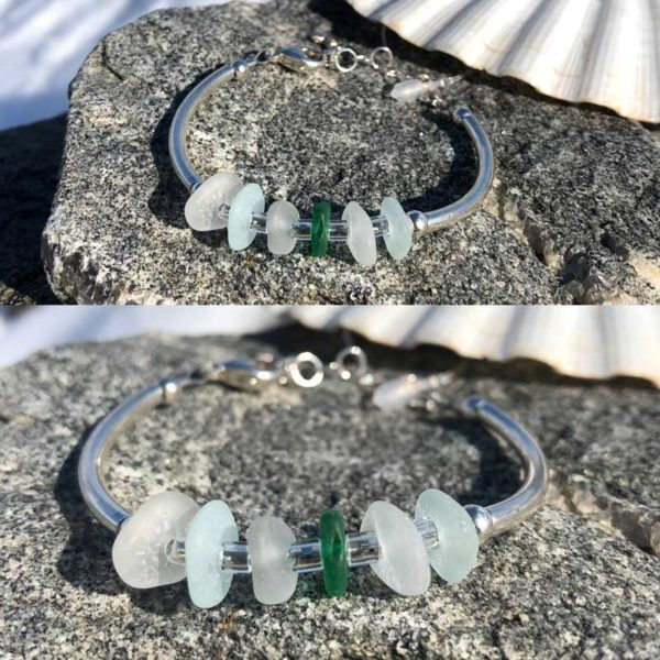 Clear, Sea Foam and pop of Green sea glass Adjustable Link Bracelet