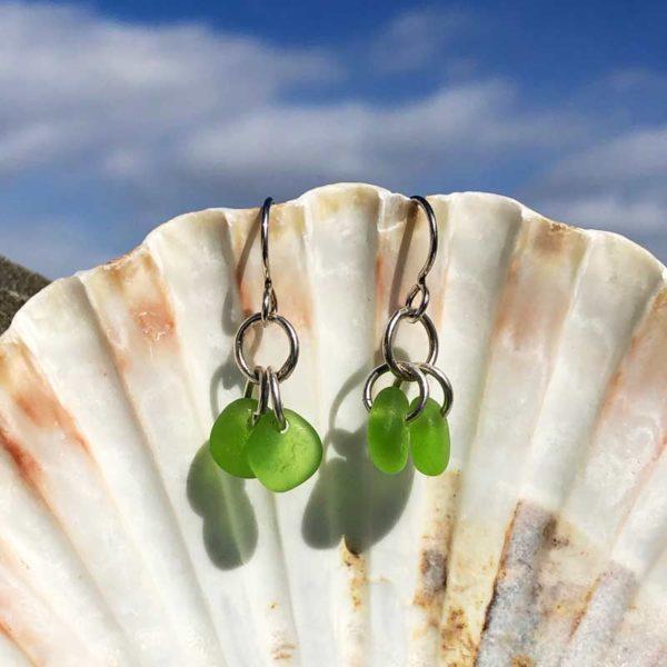 Double Green Sea Glass Earrings
