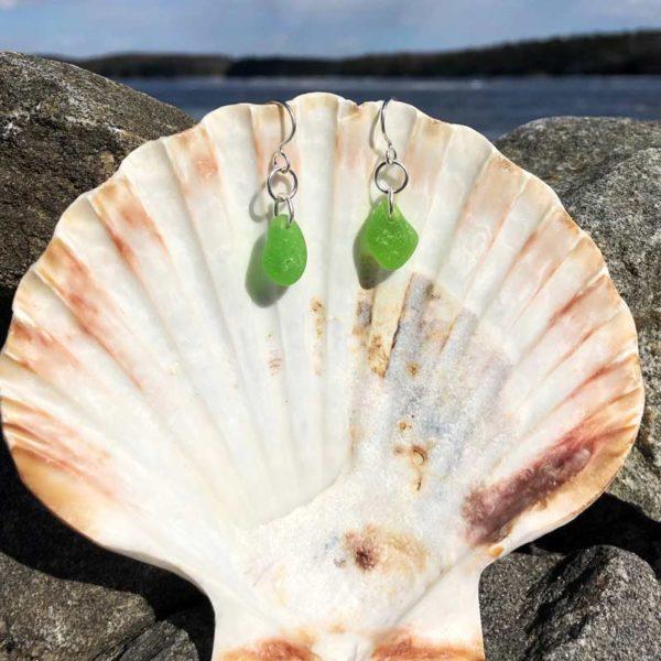 Single Green Sea Glass Earrings