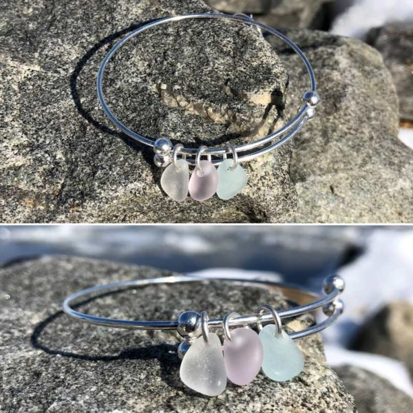 Expandable Sea Glass Bracelet - Light Blue, Light Pink, Clear