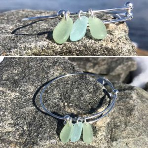 Expandable Sea Glass Bracelet - Light Green & Sea Foam